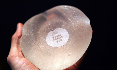 A breast implant produced by the French company PIP (Poly Implant Prothese).