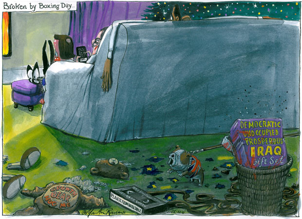 Martin Rowson on David Cameron and Barack Obama's year - cartoon