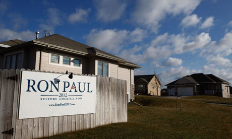 Ron Paul wall sign in Des Moines, Iowa
