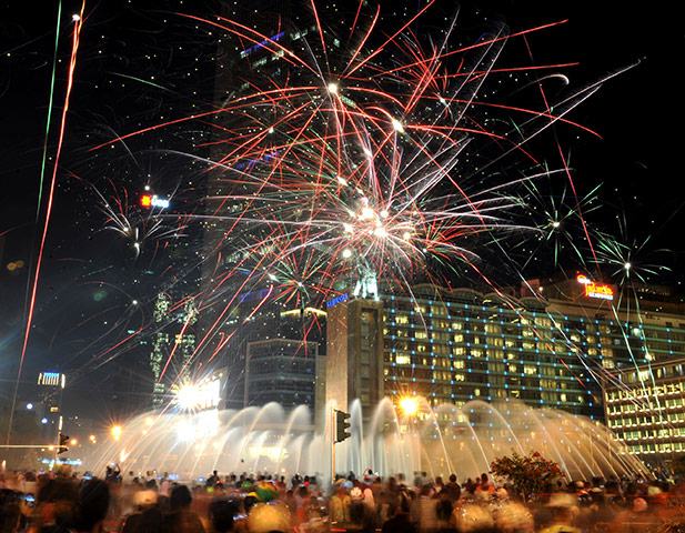 New Year celebrations: downtown Jakarta