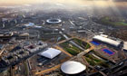 An aerial view of the Olympic site in east London, venue for the 2012 Games
