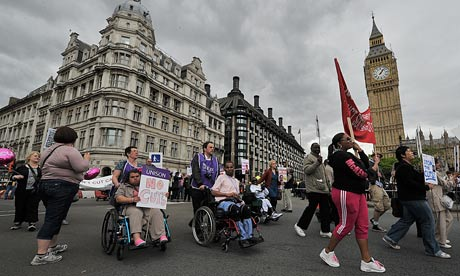Disabled protestors outside parliament