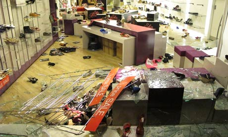 A looted Debenhams store in Clapham Junction, London, on 8 August 2011.