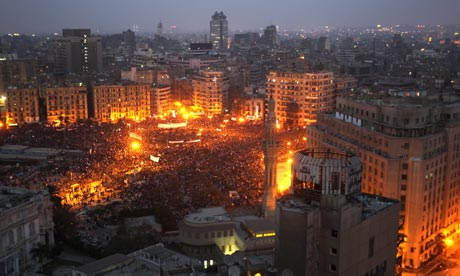 Protesters in Tahrir Square in Cairo on 1 February 2011.
