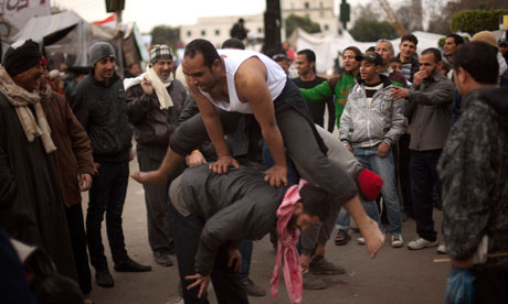 Protesters exercises anti-government demonstrations Tahrir Square, Cairo, Egypt, 10 February 2011.