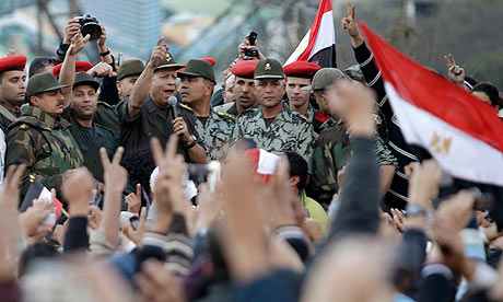 An Egyptian army commander addresses protesters in Tahrir Square