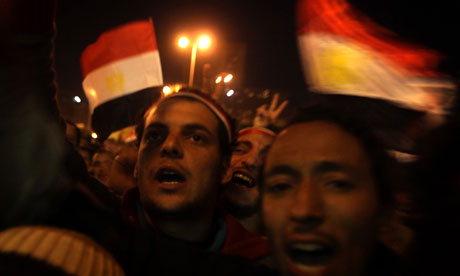 Protesters in Cairo's Tahrir Square on 10 February 2011.