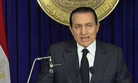 President Hosni Mubarak speaking on TV