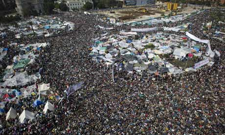 Egyptian protesters in Cairo's Tahrir Square on 11 February 2011.