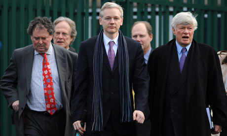 Julian Assange leaving his extradition hearing