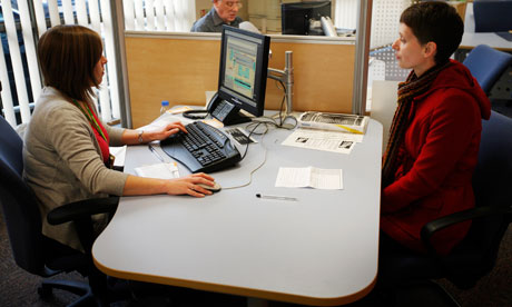 unemployed woman at job centre