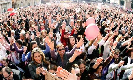 Protesters gin Rome's Piazza del Popolo