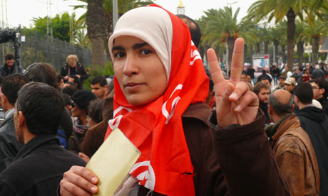 Protesters at the HQ of Ben Ali's RCD party in Tunisia