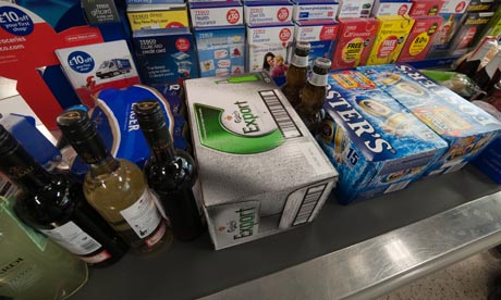 Beer and wine on supermarket checkout
