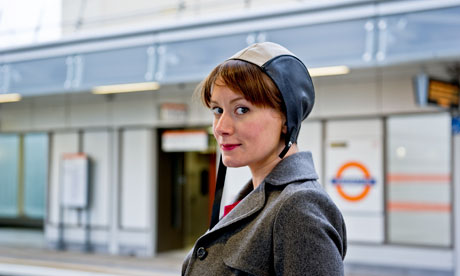 'Like Amelia Earhart – if she'd travelled by tube'  . . . Barton in her swimming hat.