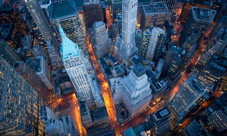 An aerial view of Wall Street, the heart of the global financial meltdown.