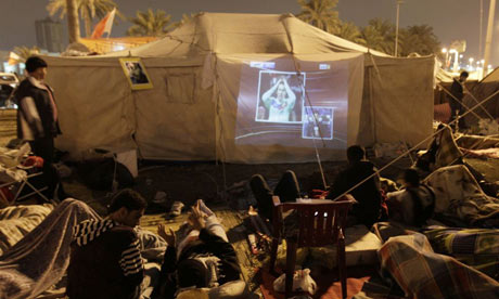 Arsenal v Barcelona at Bahrain protest camp