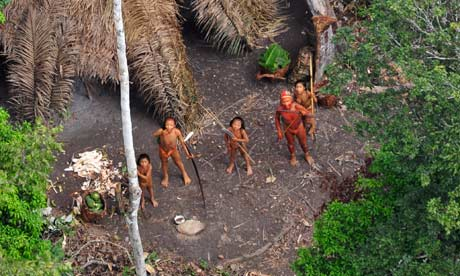 Amazon tribe under threat from loggers. Photograph: Gleison Miranda