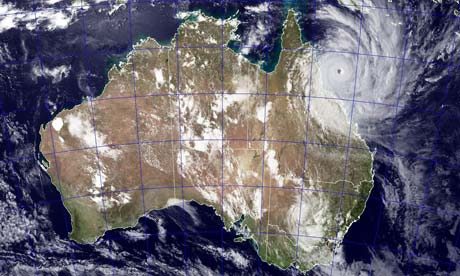 Satellite image shows Cyclone Yasi approaching the coast of Australia