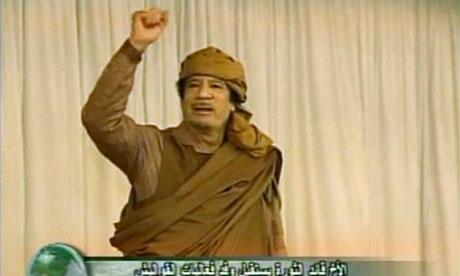 Muammar Gaddafi.