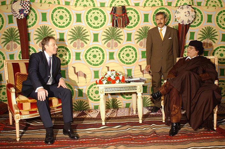 Muammar Gaddafi : March 2004: British Prime Minister Tony Blair meets Gaddafi