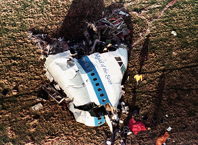 Muammar Gaddafi: December 1988: The nose section of Pan Am Flight 103