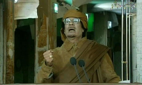 Muammar Gaddafi delivering a nationwide address in Tripoli