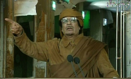 Libyan leader Muammar Gaddafi delivering a nationwide address in Tripoli