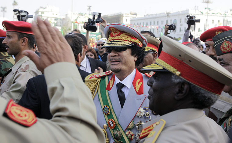 Muammar Gaddafi: September 2009: Arriving for a military parade in Green Square, Tripoli