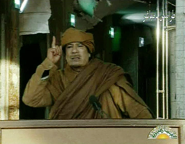 Muammar Gaddafi: February 22, 2011: Libyan leader Muammar Gaddafi addresses the nation