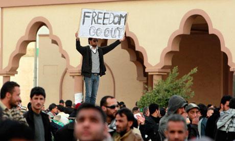 Protesters in Tobruk, Libya