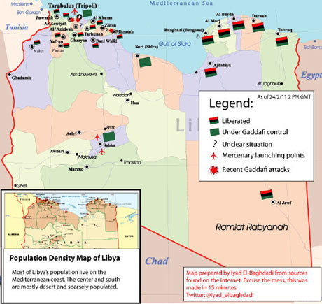 Map of Libyan areas under Gaddafi's control, 24 February 2011
