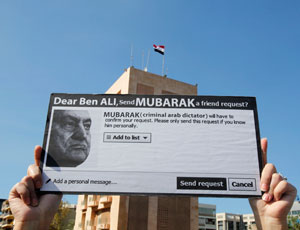A protester in front of the Egyptian Embassy in Beirut