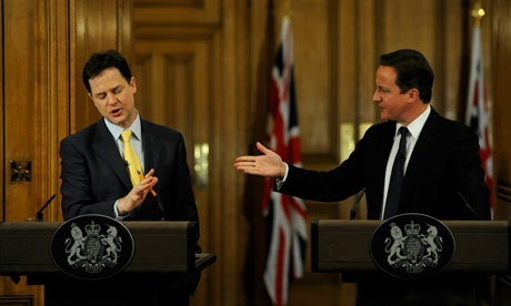 Prime Minister David Cameron And Deputy Prime Minister Nick Clegg Hold A Joint Press Conference