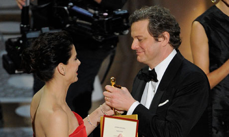 Colin Firth accepts the best actor Oscar for The King's Speech