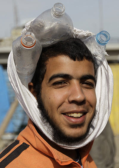 Egypt Protests: The head-protection being worn by the protestors in Egypt