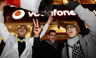 Egyptians protest outside Vodafone store in London 3 Feb 2011