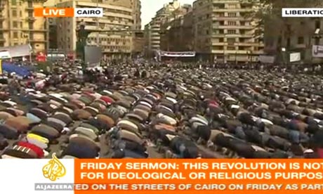 Prayers in Cairo's Tahrir Square on 4 February 2011.