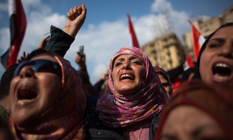 Egyptian anti-Mubarak protesters shout slogans during a demonstration in Tahrir square, Cairo, Egypt