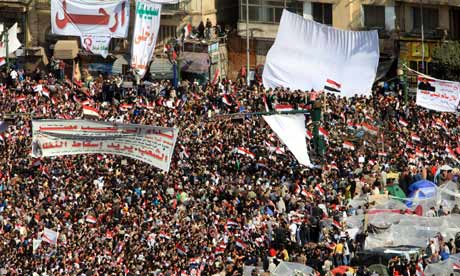 Egyptian protesters in Tahrir Square, Cairo, on 8 February 2011.