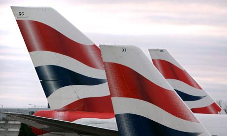 Tailfins of British Airways planes