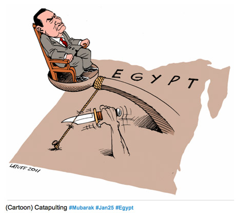 Mubarak catapult cartoon