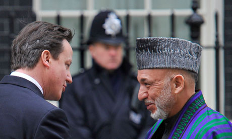 David Cameron and Hamid Karzai