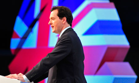 Britain's Chancellor George Osborne speaks at the Conservative spring forum in Cardiff