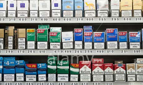 Cigarettes on display at an English tobacconists.