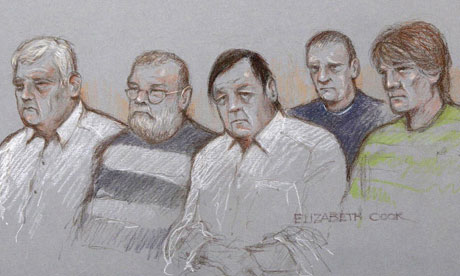 Court artist's impression of Jonathan Rees, Glen Vian, Sidney Fillery, Gary Vian and James Cook