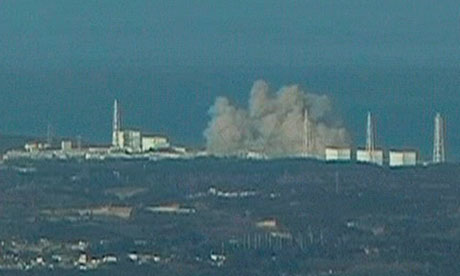 Smoke rising from Fukushima plant No 1 after an explosion at the Japanese nuclear power station