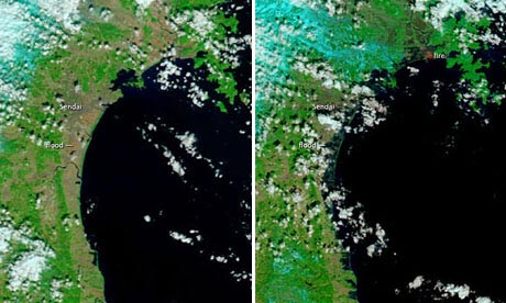 Japan Coast Before and After Tsunami