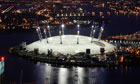 The O2 Arena at night.