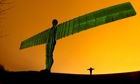 A dress rehearsal of Gateshead's Angel of the North's illumination for St Patrick's Day